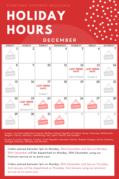Something Different Holiday Business Hours