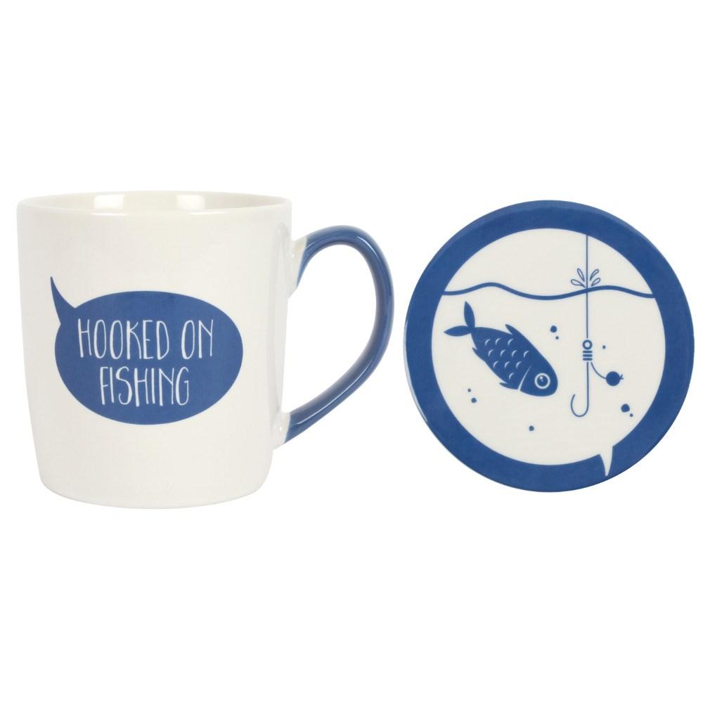 Fishing On Mug And Coaster Set Hooked 80Nwmn