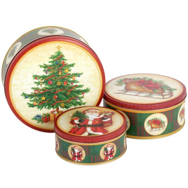 Christmas Tins.Set Of 3 Christmas Tins