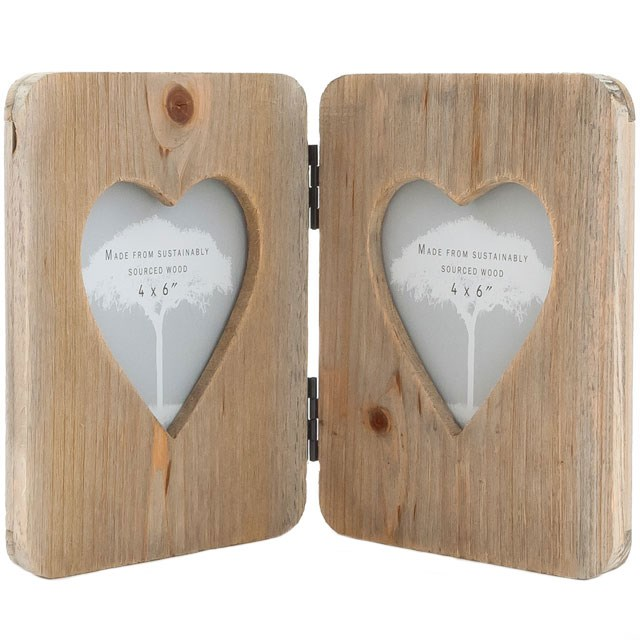 """Valentines New Home Gift Driftwood Double Heart Frame Holds 2 x 4x6/"""" Photos"""