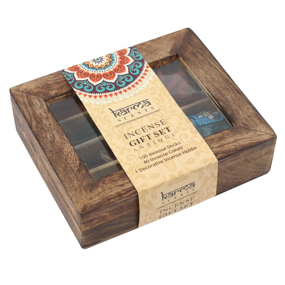 aa53f8086886 Karma Incense Gift Set in a Wooden Display Box