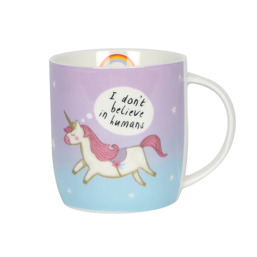 UNICORN AND RAINBOWS I DON/'T BELIEVE IN HUMANS COFFEE MUG TEA CUP WITH GIFT BOX