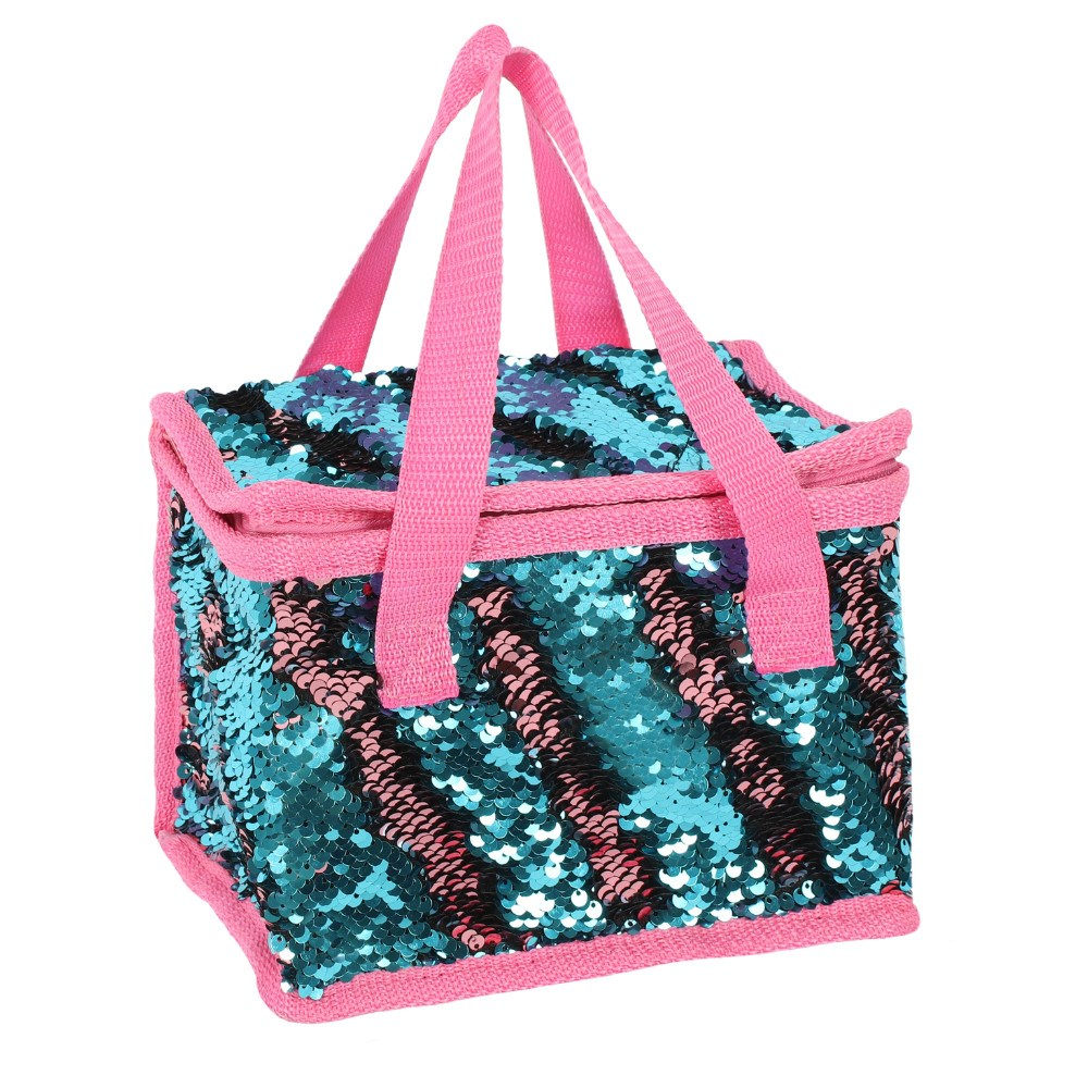 730c69288eb8 Blue and Pink Reversible Sequin Lunch Bag